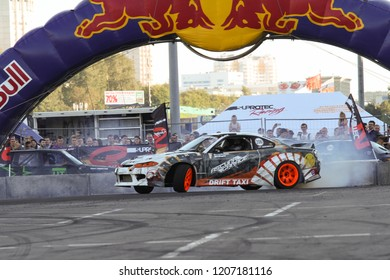 Moscow - August 26, 2016: Drift car at the Moscow International Automobile Salon, MIAS. Public-event.