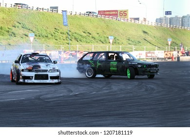 Moscow - August 26, 2016: Drift competition at the Moscow International Automobile Salon, MIAS. Public-event.