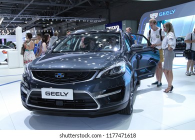 Moscow - August 26, 2016: Geely automobile at the Moscow International Automobile Salon, MIAS. Public-event.