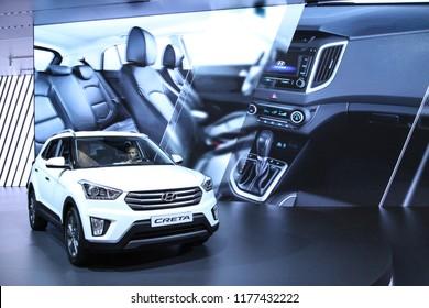Moscow - August 26, 2016: Hyundai Creta at the Moscow International Automobile Salon, MIAS. Public-event.