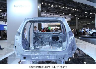 Moscow - August 26, 2016: Hyundai Creta car frame at the Moscow International Automobile Salon, MIAS. Public-event.