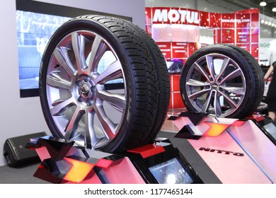 Moscow - August 26, 2016: New innovative wheels at the Moscow International Automobile Salon, MIAS. Public-event.