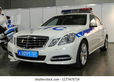 Moscow - August 26, 2016: Russian police patrol car at the Moscow International Automobile Salon, MIAS. Public-event.