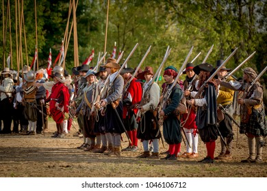 Moscow - August 27: Festival of the historic reconstruction Times and epochs. Border battle, the Polish and Ruthenian archers warriors in Troubled times. 27 August 2017.