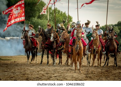 Moscow - August 27: Festival of the historic reconstruction Times and epochs. Border battle, the Polish and Ruthenian archers warriors in Troubled times. 27 August 2017. Russia