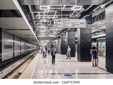 Moscow. August 30, 2018. The new metro station Govorovo (Kalininsko-Solntsevskaya line of the Moscow metro). Passengers are waiting for the arrival of the train