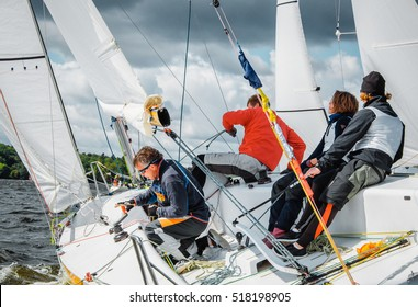 Moscow , August 30 : Team athletes participating in the sailing competition - Sailing yacht race, regatta , held in Moscow on Pirogov Reservoir August 30, 2015