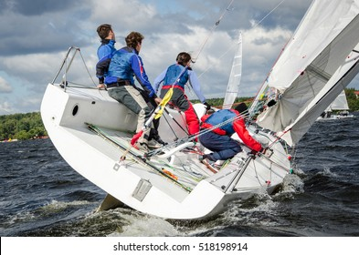 Moscow, August 30 : Team athletes participating in the sailing competition - match race, held in Moscow on Pirogov Reservoir August 30, 2015