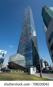 MOSCOW - AUGUST 31, 2017: Futuristic view of Moscow-City skyscrapers. Moscow-City (Moscow International Business Center) is a modern commercial district in central Moscow.