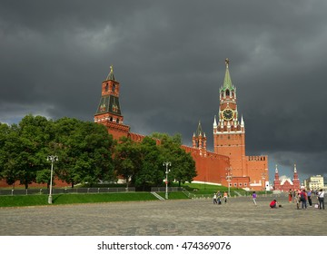MOSCOW - August, 4: Tourists walk on Red square near Kremlin wall August 4, 2016 in Moscow, Russia.
