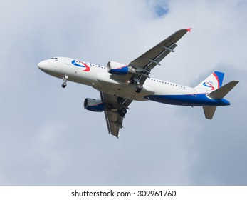 Moscow - August 6, 2015: A passenger Airbus A320-214 Ural Airlines is landing at Domodedovo airport and good weather August 6, 2015, Moscow, Russia