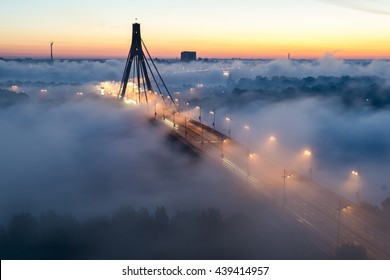 Moscow bridge in fog, Kiev, Ukraine