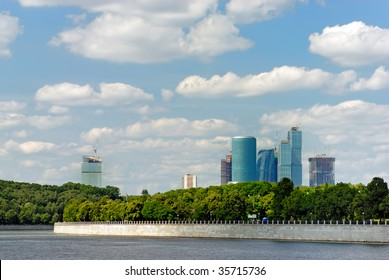 Moscow business city behind the river