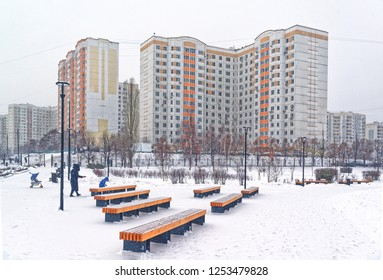 Moscow, Butovo district, new building, view from the window into the territory near the house, new houses, building, architecture. Winter, gloomy sky and heavy snow.