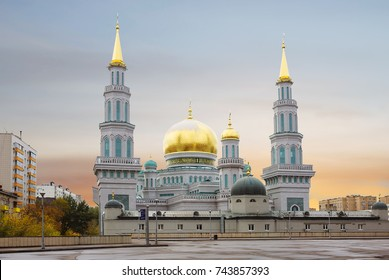 Moscow. Cathedral mosque.  Moscow Cathedral mosque is the main mosque of Moscow, one of the largest and highest mosque in Russia and in Europe.