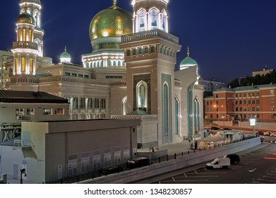 Moscow Cathedral Mosque - night lighting, Russia