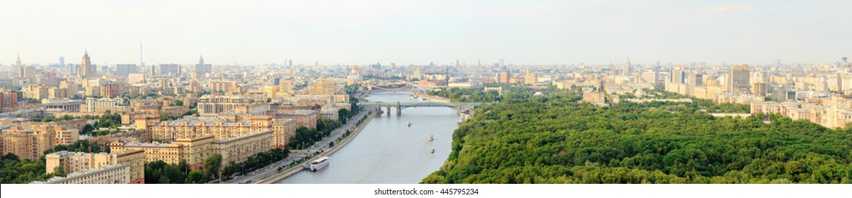 Moscow center, view from above, bridges, Christ the Savior Cathedral, Monument to Peter I, river and boats, Gorky park, Central House of Artists, Moscow Kremlin, Office buldingsand residential areas