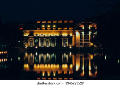 MOSCOW - CIRCA 2017: The Clean Ponds and Shater restaurant at night time in Moscow, Russia.