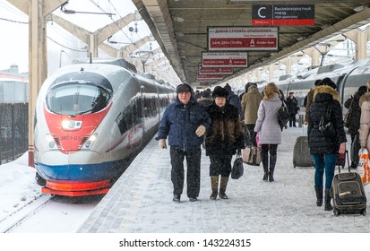 MOSCOW - CIRCA MARCH 2013: Passengers in the Leningradsky Railway Station circa March 2013. With a population of more than 11 million people is one the largest cities in the world.