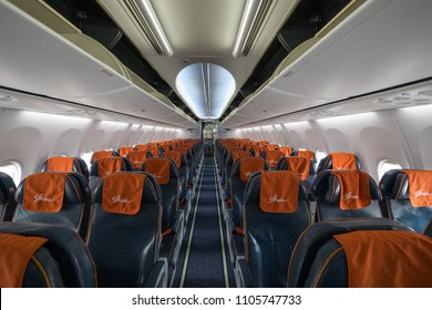 MOSCOW - CIRCA MAY, 2018: Aeroflot Russian Airlplane interior view. Aeroflot is the flag carrier and largest airline of the Russian Federation.