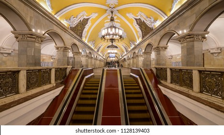 MOSCOW - CIRCA MAY, 2018: Komsomolskaya empty subway station. One of the most famous Metro stations in the world. The Moscow subway opened in 1938.