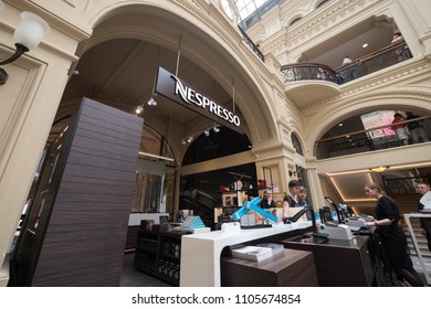 MOSCOW - CIRCA MAY, 2018: Nespresso store inside historical Gum Department Store. GUM is the main department store in many cities of the former Soviet Union. It was built in 1893.