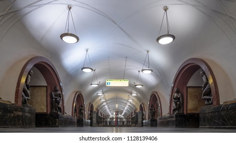 MOSCOW - CIRCA MAY, 2018: Ploshchad Revolyutsii empty subway station. One of the most famous Metro stations in the world. The Moscow subway opened in 1938.