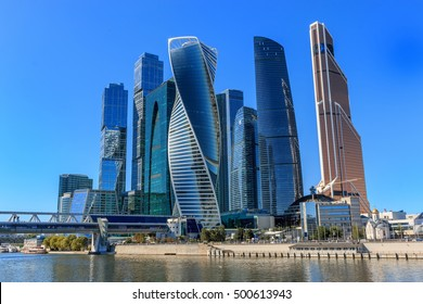 Moscow city, close up panorama of international business Russian Center. Good weather, blue sky. Construction buildings like a UAE, Arabic, USA style. Photo, poster, image.