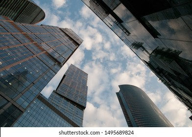 Moscow City. Futuristic view of skyscrapers