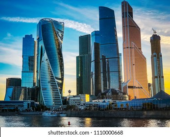 Moscow City - Moscow International Business Center Russia. City landscape at sunset, HDR photography.
