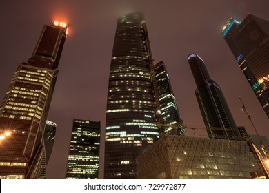 Moscow City International Business Center by night, Russia