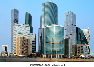 Moscow City international business center in Moscow view from the Taras Shevchenko embankment.