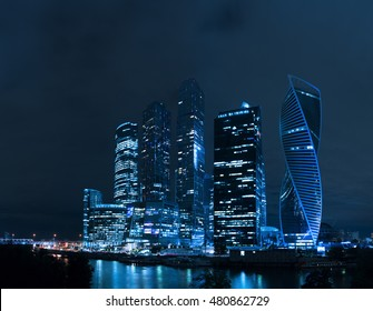 Moscow city at night, Russia Russian skyscrapers, Moscow city