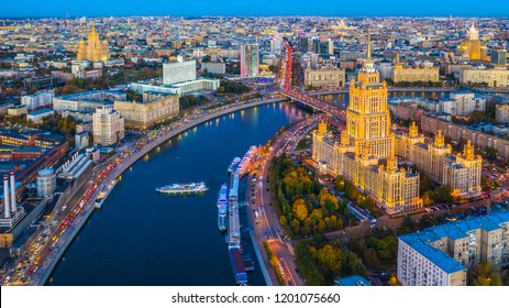 Moscow City with Moscow River at night, Moscow skyline with the historical architecture skyscraper, Aerial view tourist boat and bridge with Arbat street, Russia.