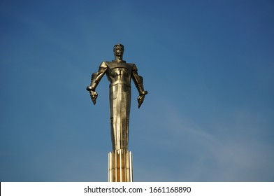 Moscow city, Russia - May month, 31st day, 2013: sculpture of the first Soviet cosmonaut Yuri Gagarin, made of metal against a clear blue sky