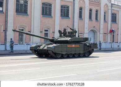 Moscow city / Russian Federation — 06/24/2020: Military parade in Moscow dedicated to the 75th anniversary of the victory over fascism during the coronavirus pandemic. Mokhovaya street.
