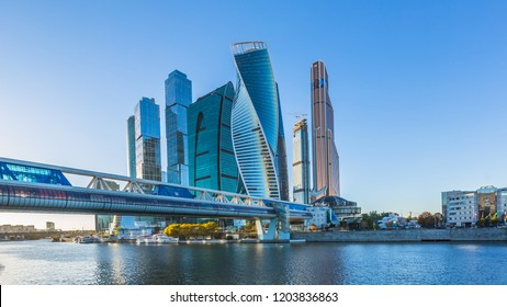 Moscow city skycraper, Moscow International Business Centre at autumn time with Moscow river, Russia.