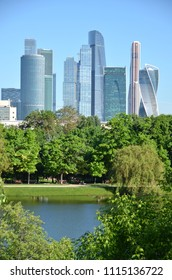 Moscow city skyline across the pond at Novodevichiy Convent