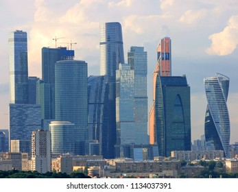 Moscow city skyline at Business Center District view from Sparrow Hill, Moscow, Russia