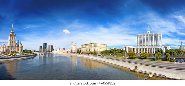 moscow city skyline panorama russian government building stalin era hotel tower with moscow river embankment street dramatic sky detail exterior panoramic travel architecture background theme