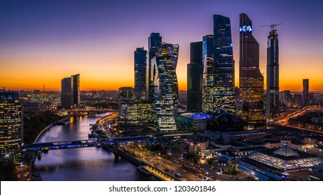 Moscow city skyscraper, Moscow International Business Centre at twilight time with Moscow river, Aerial view, Russia.