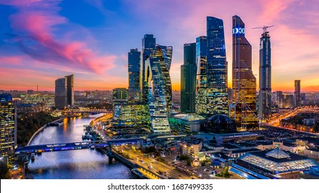 Moscow city skyscraper and skyline architecture, Moscow international business financial office with Moscow river, Aerial view skyscraper of Moscow City business center in autumn season, Russia.