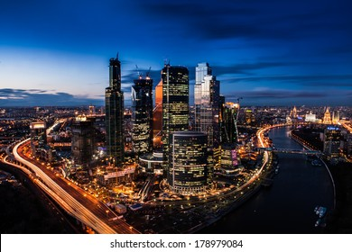 Moscow City in the sunset