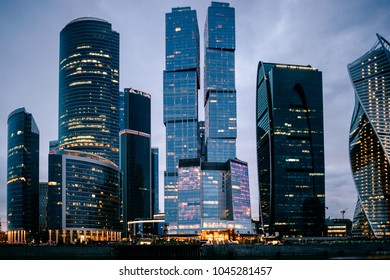 Moscow city towers in the night time. Business buildings. City view. Famous touristic place in Russia. Archirecture skycrappers. Urban modern houses.