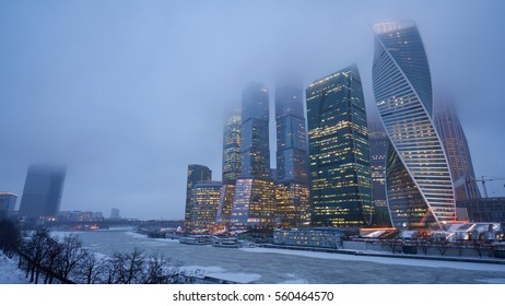 Moscow City in winter fog. It is a Moscow International Business Center and a commercial district.