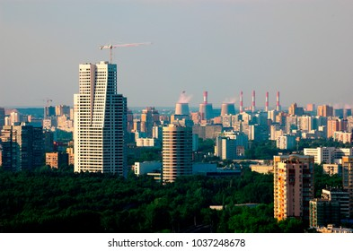 Moscow cityscape with modern skyscrapers before sunset