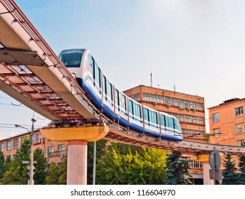 Moscow cityscape with monorail train, Russia, East Europe