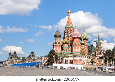 Moscow cityscape - Pokrovsky Cathedral and Vasilevsky Descent of Red Square of Moscow Kremlin in sunny summer day