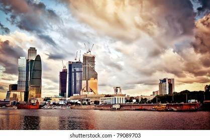 Moscow cityscape at sunset, view from quay