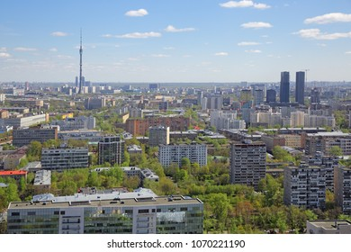 Moscow cityscape. Top view of Ostankinsky District and Ostankino Tower